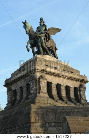 Statue of imperator Wilhelm at the Deutsches Eck in Koblenz poster