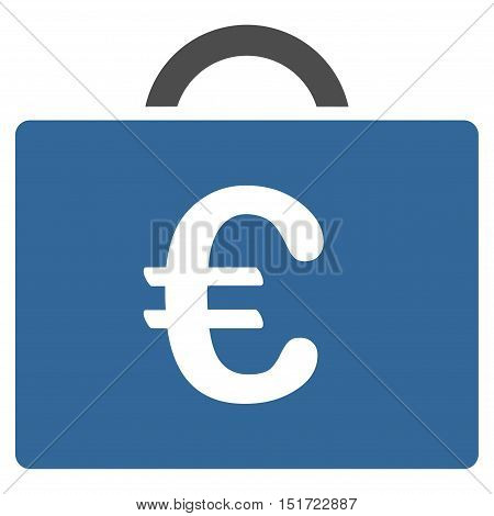 Euro Bookkeeping Case icon. Vector style is bicolor flat iconic symbol, cobalt and gray colors, white background.
