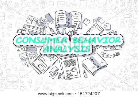 Consumer Behavior Analysis Doodle Illustration of Green Word and Stationery Surrounded by Cartoon Icons. Business Concept for Web Banners and Printed Materials.