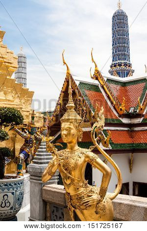 Golden warriors of The Grand Palace Bangkok Thailand
