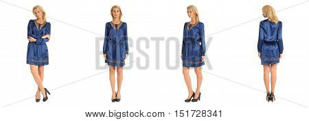 Beautiful Blonde Woman In Blue Tunic Dress Isolated On White