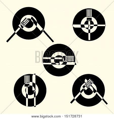 Dining etiquette, forks and knifes signals. Vector illustration