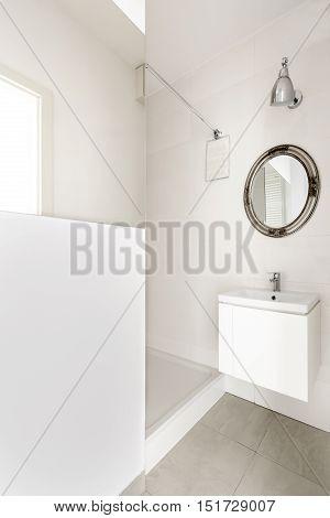 Modern bathroom with shower interior design .