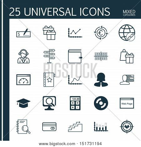 Set Of 25 Universal Icons On Wallet, Business Woman, Personal Skills And More Topics. Vector Icon Se