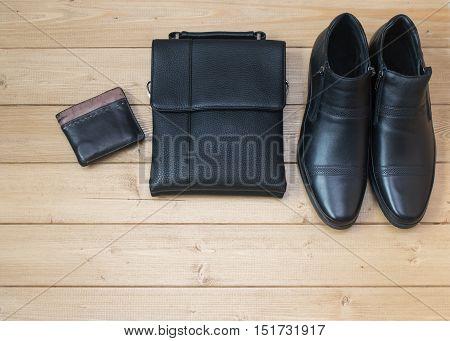 Stylish Men's Accessories On The Wooden Floor.