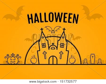 Happy halloween concept orange background with bats moon cauldron pumkin coffin graves castle church. Vector design for web page graphics, wallpaper. 31 october in outline style. Place for your text.