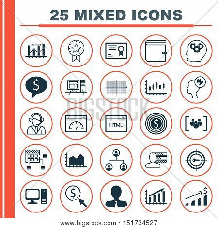 Set Of 25 Universal Icons On Human Mind, Stock Market, Square Diagram And More Topics. Vector Icon S