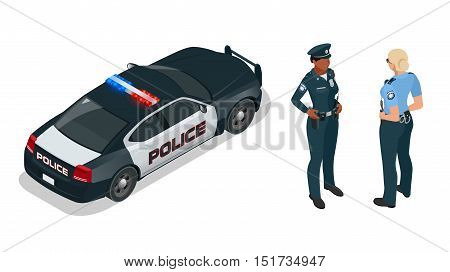 Police officer and police car with siren light blinking. Police officer in uniform, modern police car, police woman writing fine, police badge, police lights.