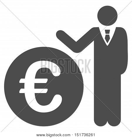 Euro Economist icon. Vector style is flat iconic symbol, gray color, white background.