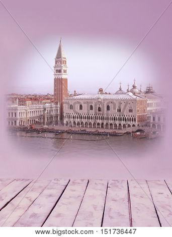 Collage of images of Venice in pink and lilac shades and retro stile. Venice Italy Europe