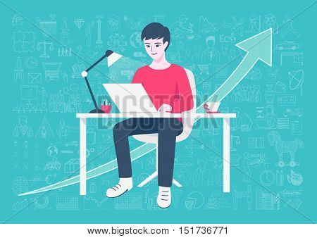 Young entrepreneur working on online business from home on his home working table with hand drawn business icons and arrow background. Freelance lifestyle.Internet of things concept.-Stock Vector