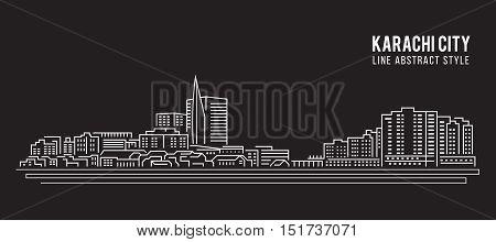 Cityscape Building Line art Vector Illustration design - Karachi city