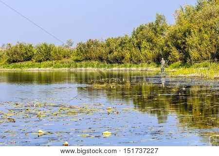 The river Chaus Kolyvan district Novosibirsk oblast Siberia Russia - September 17 2016: fishermen with a spinning rod looking for a predatory fish on the river