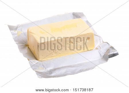 A pack of margarine 500 g that is opened on white background.
