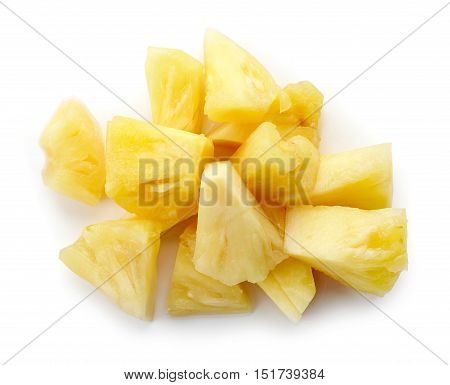 Canned Pineapple Chunks Isolated On White, From Above