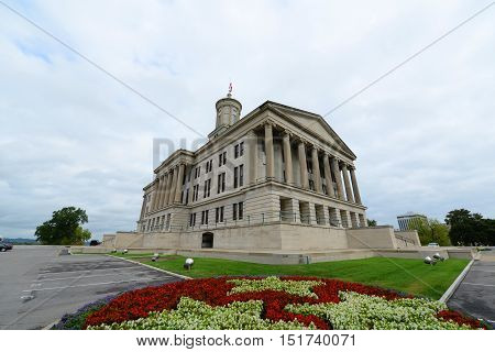 Tennessee State Capitol, Nashville, Tennessee, USA. This building, built with Greek Revival style in 1845, is now the home of Tennessee legislature and governor's office.