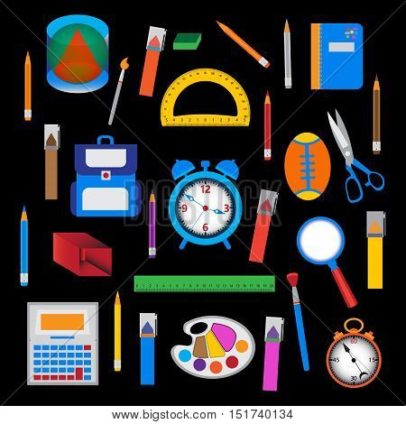 Set of school objects over black. Vector illustration of education and office tools.
