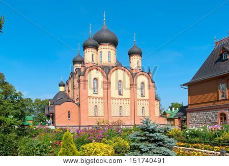 KUREMAE, IDA-VIRUMAA COUNTY, ESTONIA - AUGUST 21, 2016: Dormition Cathedral. Puhtitsa Dormition Convent of Russian Orthodox Church (The Estonian Orthodox Church of Moscow Patriarchate)