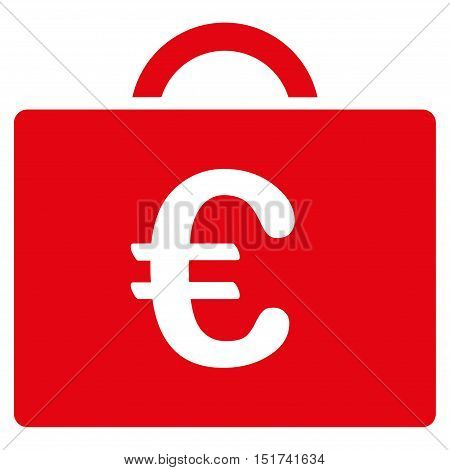 Euro Bookkeeping Case icon. Vector style is flat iconic symbol, red color, white background.