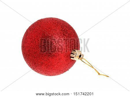 One red christmas bauble isolated on white background.