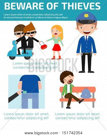 Beware of thieves ,infographic background concept. Vector Illustration