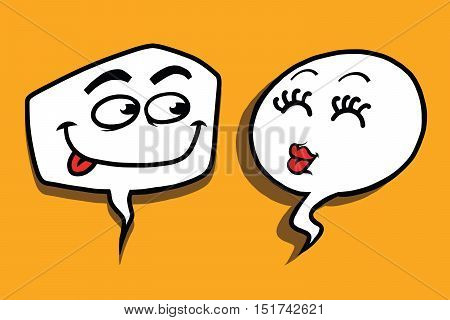 couple love cartoon bubble face man woman, pop art comic vector illustration. Kiss and Casanova