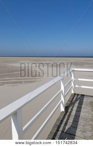 Famous sea cottage on the sandbar the Vliehors on the wadden Island Vlieland in the Netherlands