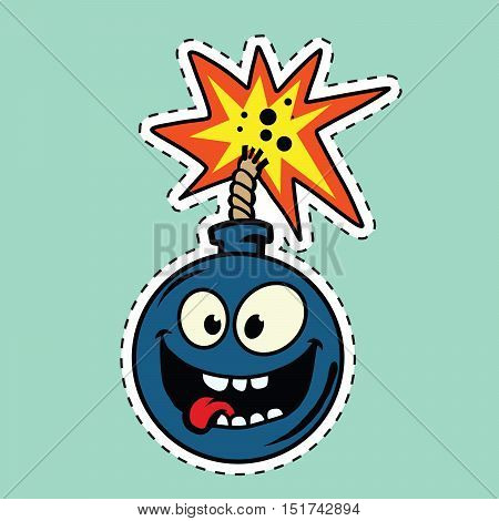 Funny bomb cartoon character, pop art comic vector illustration. Happy face. The fuse is lit
