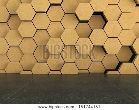 Floor with wooden hexagons pattern on dark wall background, 3D rendering