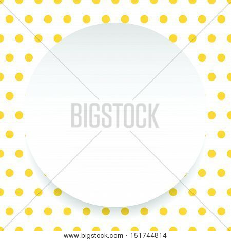 Blank Circle, Sheet, Disc Over Polkadot Pattern / Background Is Seamless