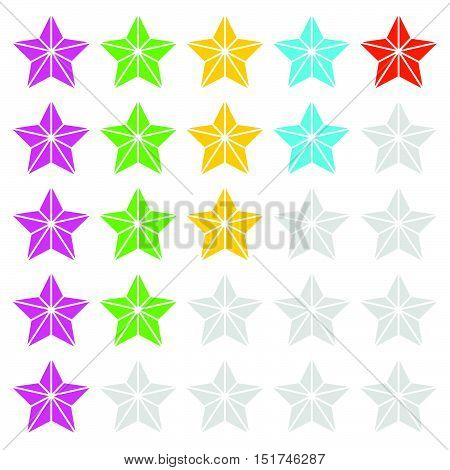 Geometric, Contour Faceted Star Icons - Quality, Award, Rating, Ranking Topics
