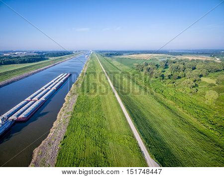 barges on Chain of Rocks Canal of the Mississippi River above St Louis - aerial view