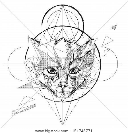 Animal head triangular icon , geometric trendy line design. Vector illustration ready for tattoo or adult relax anti stress coloring book. Cat head low-poly sketch hand drawn