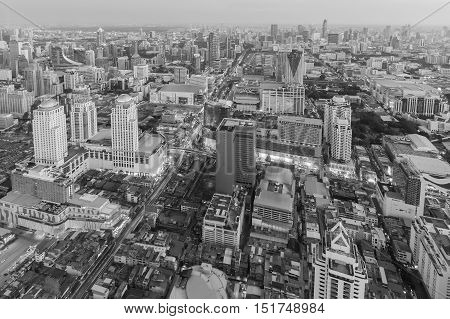 Black and White, Aerial view Bangkok city downtown, Thailand
