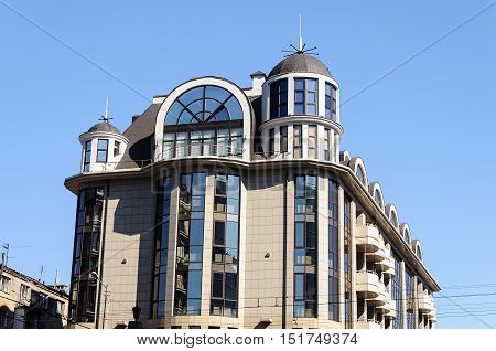 Top of modern high-rise building in Odessa Ukraine