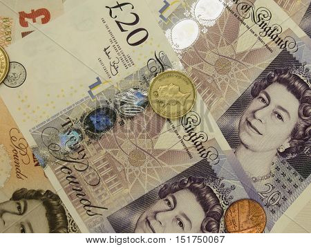 LONDON UK - CIRCA FEBRUARY 2014: British Sterling Pounds (GBP) banknotes and coins