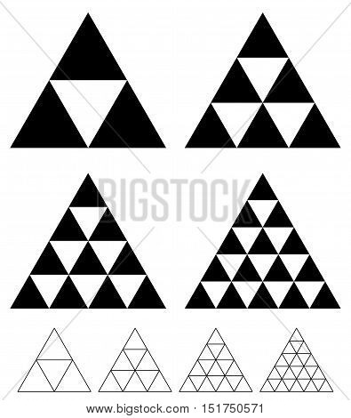 Mosaic Triangle Elements With Wireframe Grid. Tessellation, Mosaic Triangles