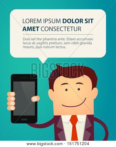 Business man show smart phone with bubble speech. Vector illustration