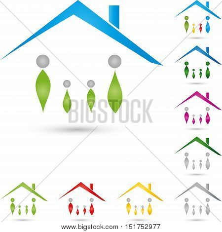 Four people and house, real estate and real estate agent logo