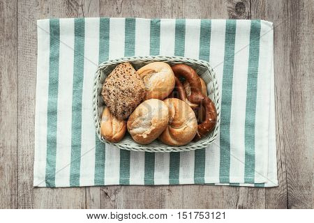 Tasty Bread In A Basket