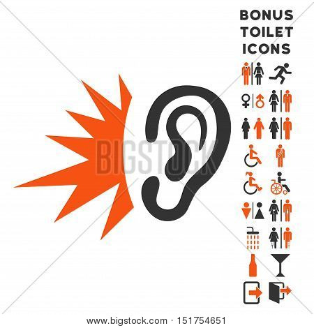 Listen Loud Sound icon and bonus male and lady restroom symbols. Vector illustration style is flat iconic bicolor symbols, orange and gray colors, white background.
