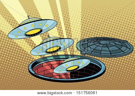 UFOs fly out of the sewers, pop art retro vector illustration