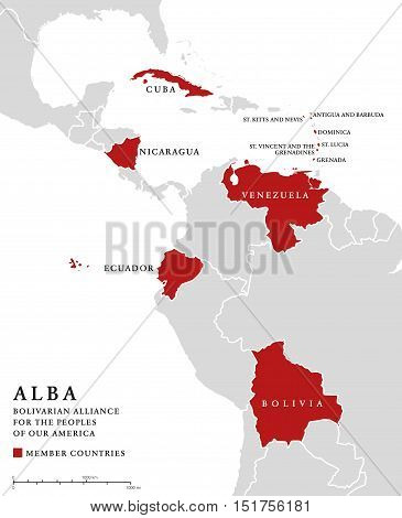 ALBA, member countries info map. Bolivarian Alliance for the Peoples of Our America, an intergovernmental organization and integration platform for the countries of Latin America and the Caribbean.
