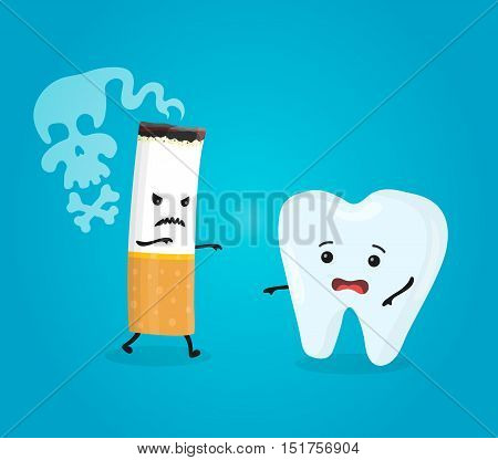 Tooth and cigarette characters. Decayed healthy tooth problem with smoke. Vector flat cartoon character isolated illustration