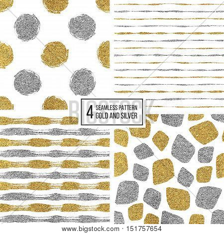 Set of seamless pattern of gold and silver stripes, polka dots, mosaic spots, texture golden and silvern lines, circle, point, stroke, hand drawn vector pattern for textile, wallpaper, web, wrapping