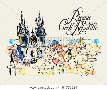 watercolor freehand sketch drawing of Prague Czech Republic top landscape with calligraphy lettering to travel book or poster, aquarelle painting vector illustration