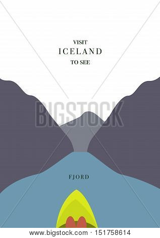 Iceland invating postcard On kayak in the fjord vector simple flat design
