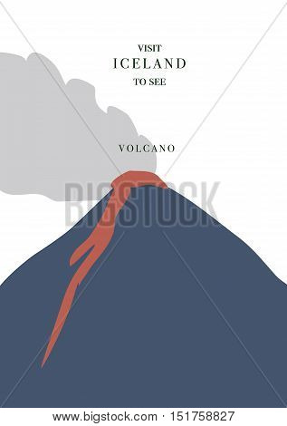 Iceland inviting postcard. Active volcano with red magma and smoke vector illustration simple flat design.