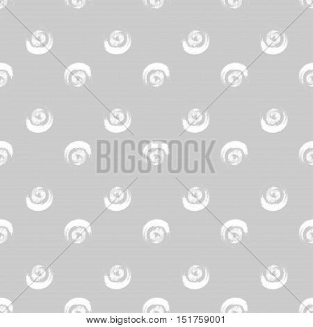 Abstract seamless pattern of grunge white circles of stylized brush, pencil strokes on grey background. Can be used for website design, pattern fill, packaging, clothing, printing on surfaces.