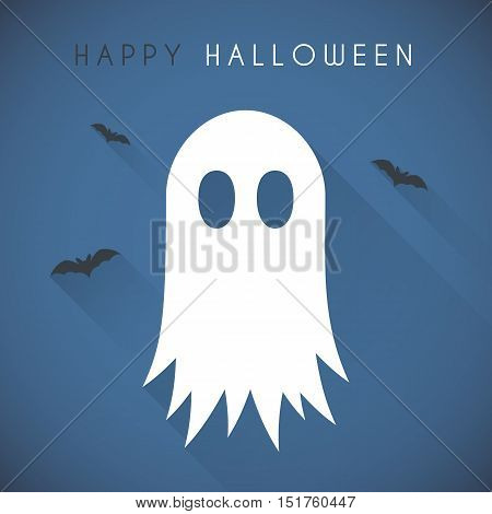 Simple Happy halloween card with ghost and bats